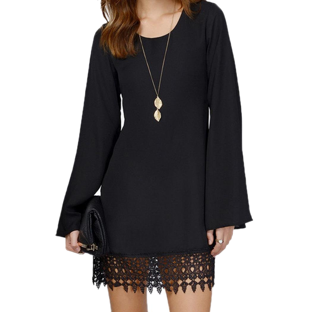 2017 NEW Women Sexy O-Neck Loose Shirt Long Sleeve Plus size Formal Casual Lace Dress