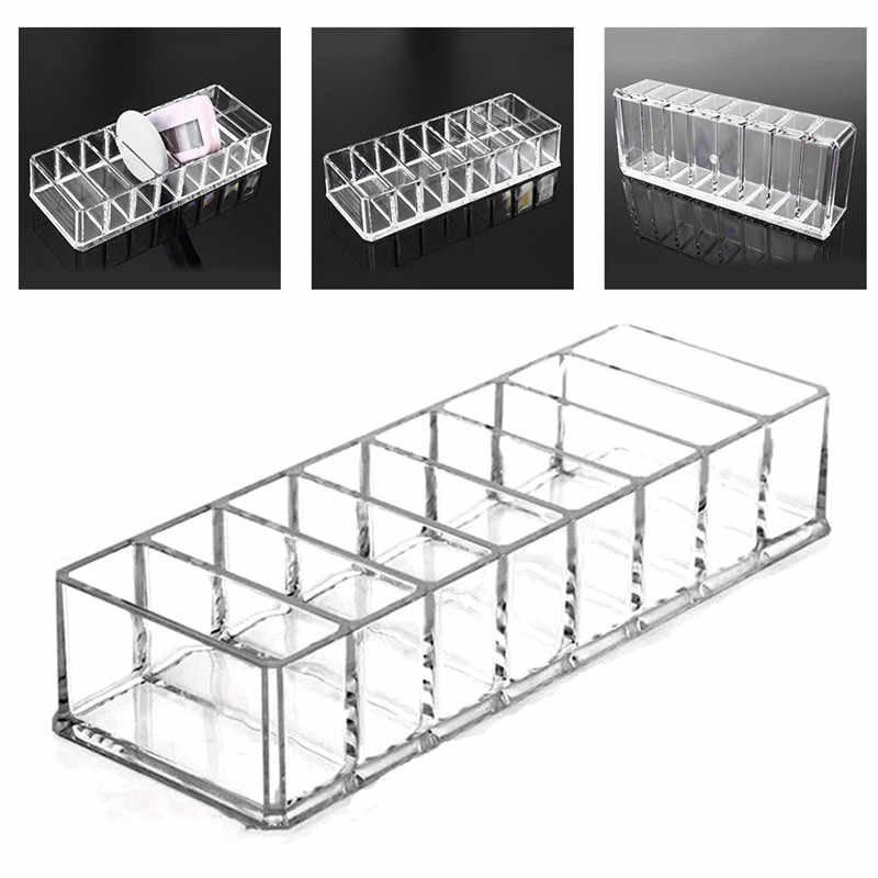 Transparent Acrylic Lipstick Jewelry Storage Box 8 Grids Makeup Case Organizer Cosmetics Brush Holder Display Stand #290768