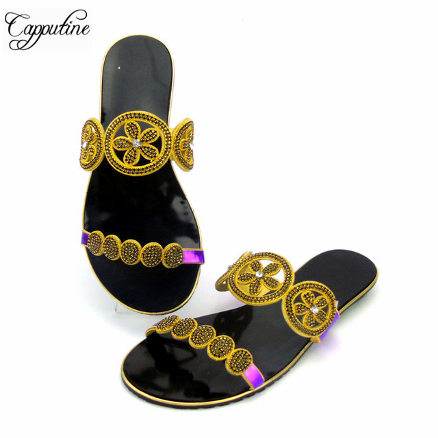 c8705345e35 Capputine Latest Design African Women Slippers Summer Low Heels Shoes  African Rhinestone Ladies Shoes 6Colors ABS1124