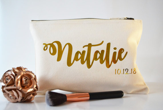 Bolsas de maquillaje de dama de honor personalizadas bolsas de dama de honor regalo único para el caso de la vanidad nupcial bolsas de fiesta monederos