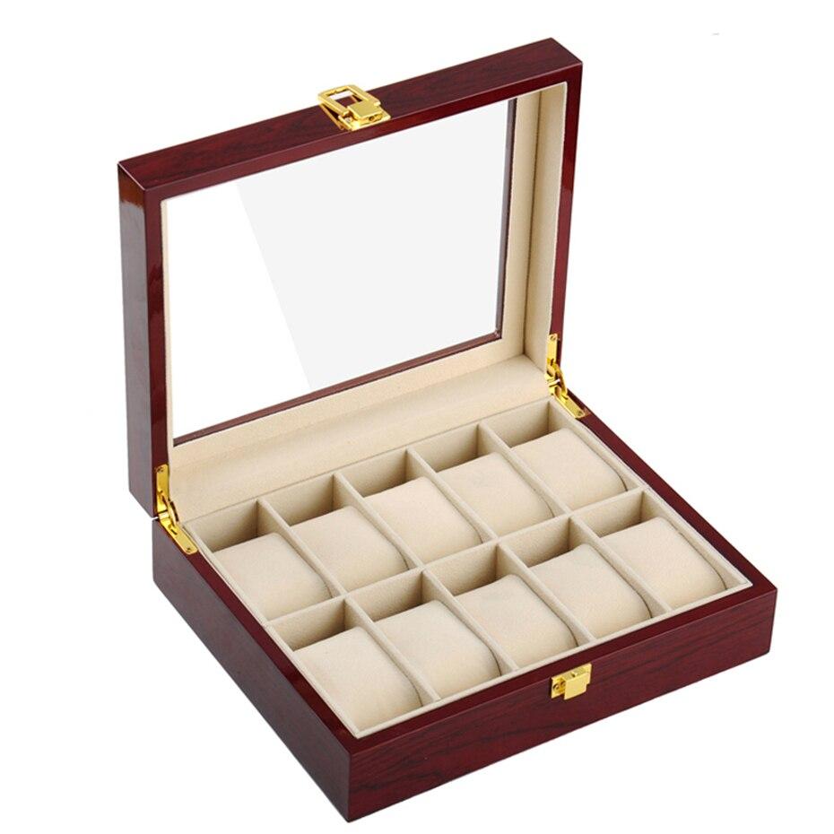 Nouveau mode laque bois montre boîtes 10 fentes boîtes de rangement MDF montre-bracelet emballage boîte fenêtré montre boîte de rangement rouge
