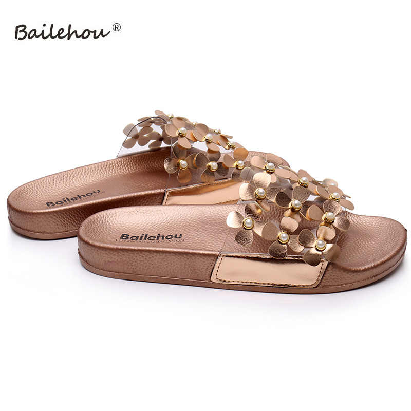530cbdc85 ... Women Slippers Woman Shoes Summer Beach Flip Flops Ladies Gold Flower  Pearl Women Slippers Home Female ...