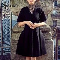 Hego 2016 Autumn Winter New Fashion V Neck Zipper Temperament Slim Long Women Basic Woolen Coat