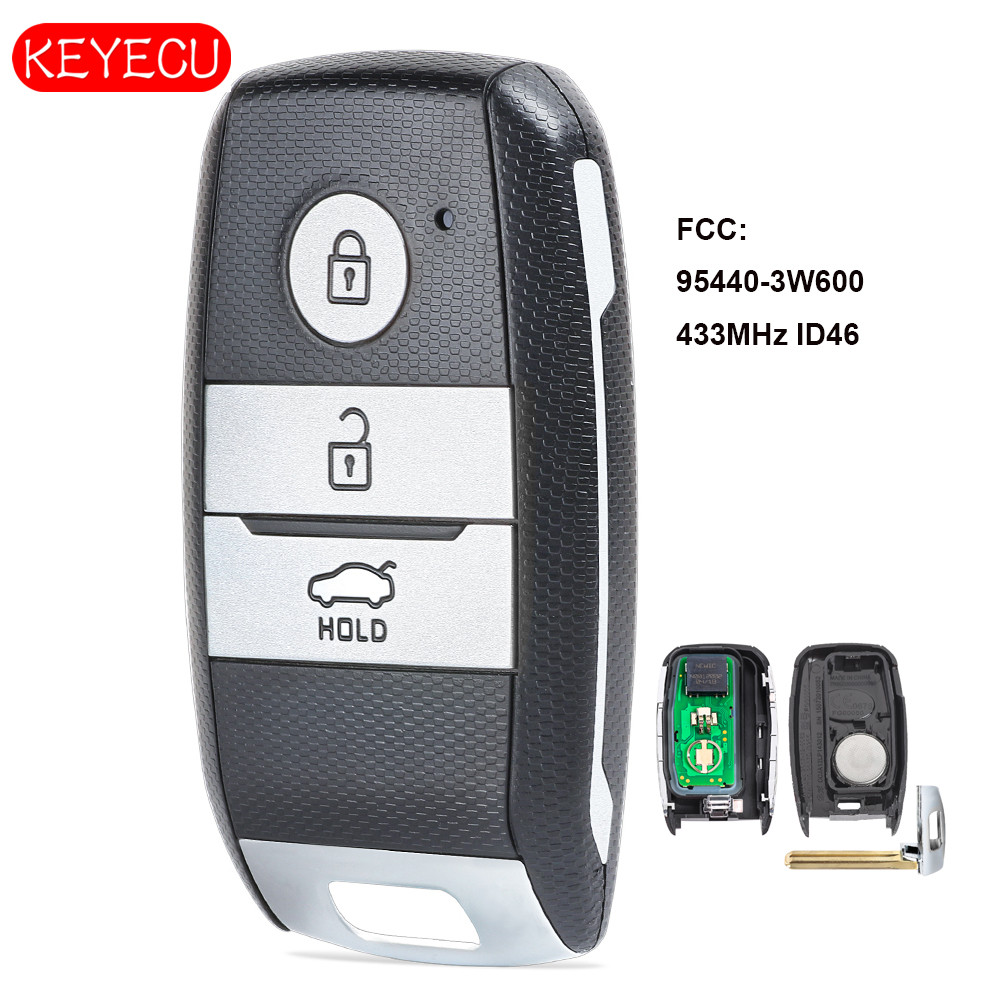 Keyecu Smart Remote Key Fob 3 Button 433MHz ID46 Chip for Kia K5 Sportsge 2014 FCCID: 95440-3W600Keyecu Smart Remote Key Fob 3 Button 433MHz ID46 Chip for Kia K5 Sportsge 2014 FCCID: 95440-3W600