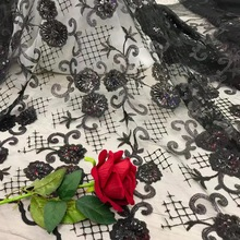 BEAUTIFICAL black lace fabric bridal embroidery sequin Ghana for cloth JYN307