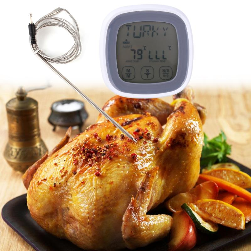 Outdoor Camping Picnic BBQ Thermometer Timer Touch Screen Digital Probe Food Meat Cooking Temperature Meter