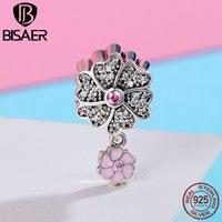 BISAER Hot Sale 100 925 Sterling Silver Charm Daisy Flower Petal Charm Beads Fit Charm Bracelet