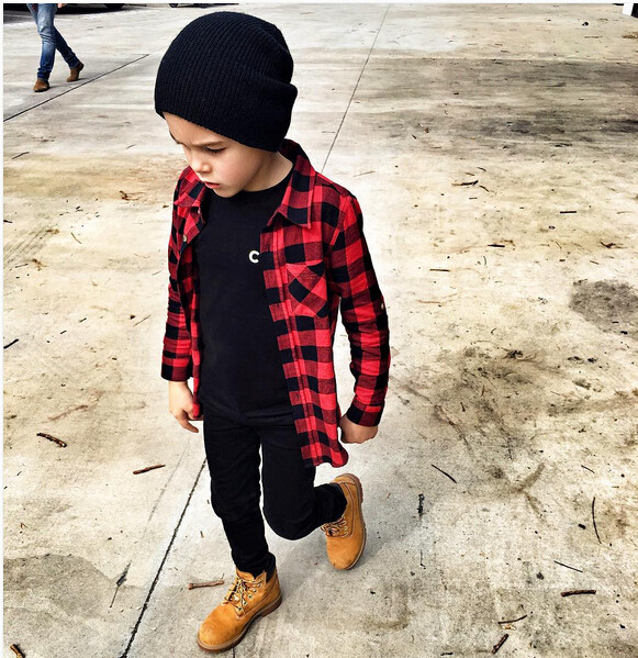 Child Kids Boys Girls Long Sleeve  Plaid Check Tops Blouse Casual Clothes