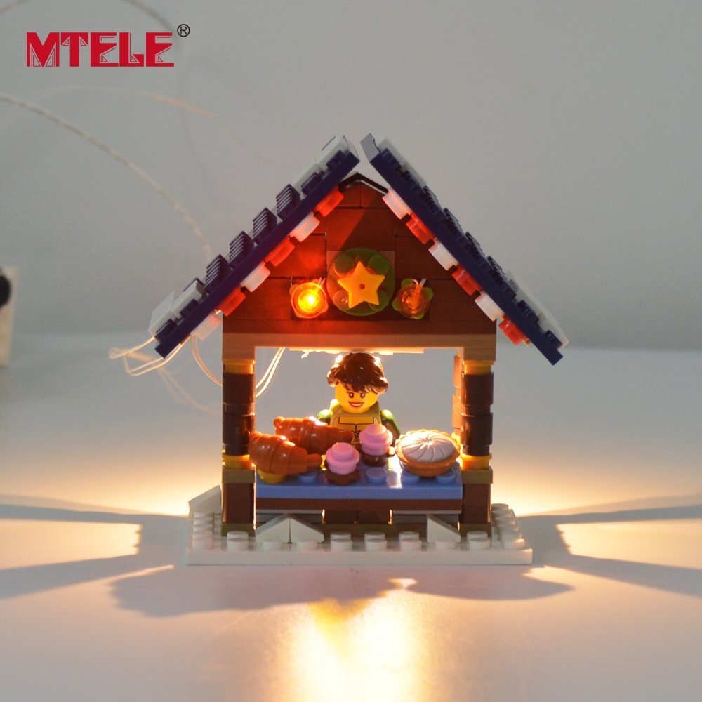 Image 2 - MTELE Led Flash Light Set For Christmas Series Winter Village Market Building Blocks Toy Compatible With Model 10235-in Blocks from Toys & Hobbies