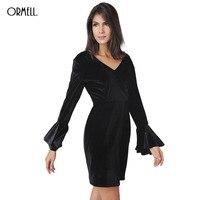 ORMELL Black Velvet Sheath Dress Office Ladies Autumn Winter V Neck Backless Flare Sleeve Slim Dress