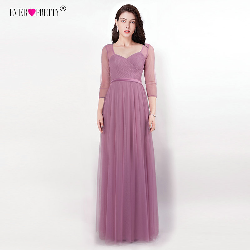 Ever Pretty   Bridesmaid     Dresses   Sweetheart 3/4 Sleeve Vestido Longo EZ07664OD Open Back Vestido Madrinha Long Wedding Guest   Dress