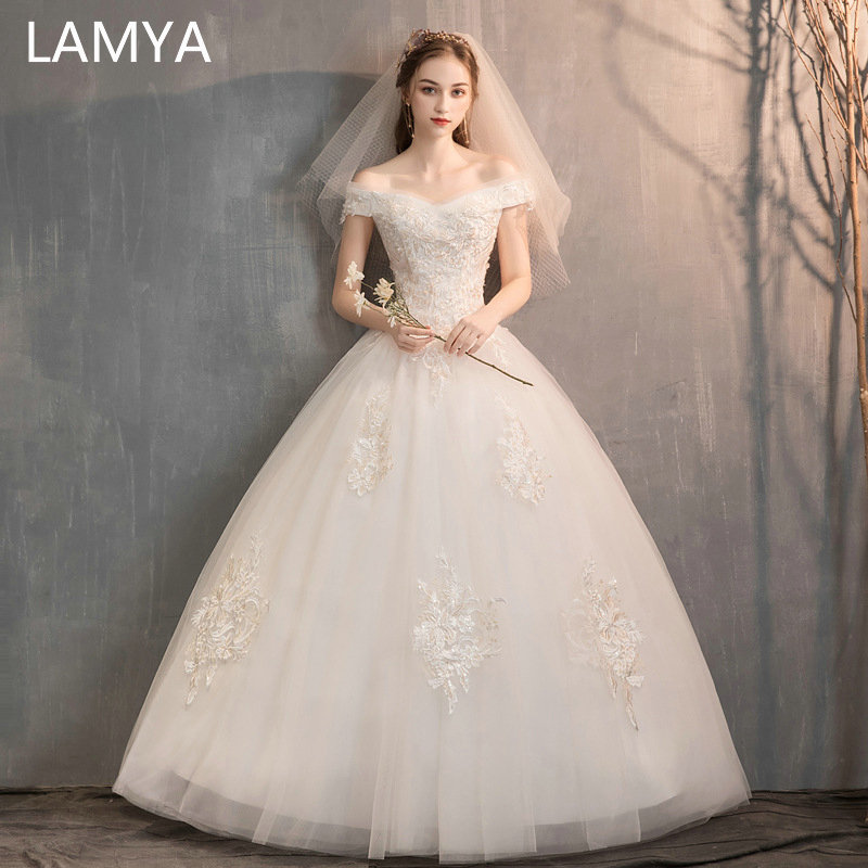 LAMYA Vestido De Noiva Off The Shoulder Wedding Dresses 2019 Ball Gown Wedding Gowns Sexy Sheer Bride Dress Robe De Ma