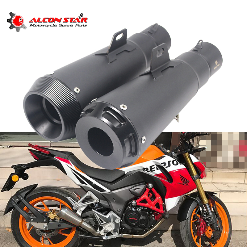 Alconstar- 51mm Black Motorbike Motorcycle Exhaust Muffler SC Escape Moto Racing For Dirt Bike,Street Bike,Scooter,ATV Quad 51mm 61mm inlet motorcycle slip on exhaust escape moto stainless steel racing bike exhaust 600cc gy6 scooter dirt pit bike sc016