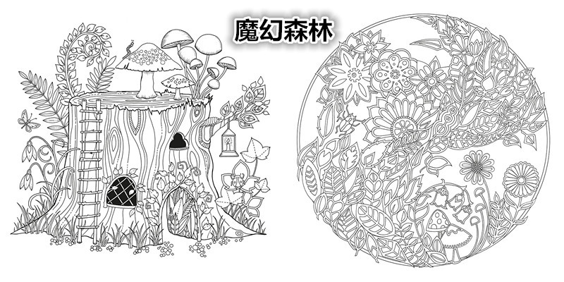 Original English Secret Garden Enchanted Forest Coloring Book Adult Relieve Stress Graffiti Painting Drawing Korean In Books From Office School