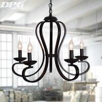 Black Art Deco Modern Iron Chandeliers Fixtures E14 110v 220v Cottage chandeliers for dining room living room bedroom