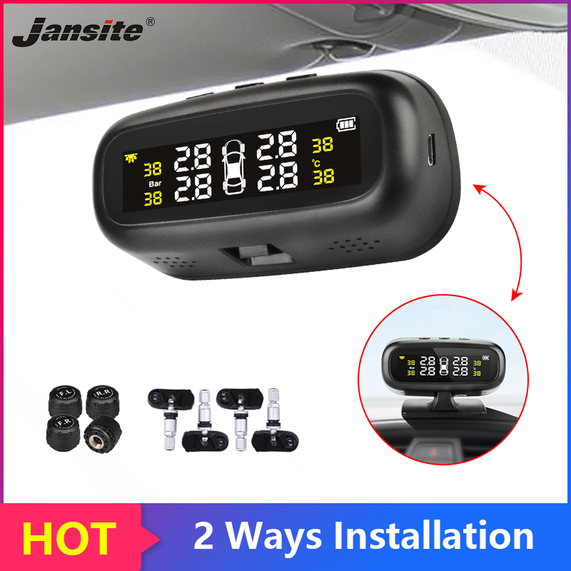 Jansite Solar TPMS Car Tire Pressure Alarm Monitor System Display Intelligent Temperature Warning With 4 Sensors BAR LCD Display