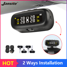 Jansite Solar TPMS Car Tire Pressure Alarm Monitor System Display Intelligent Temperature Warning with 4 sensors BAR LCD