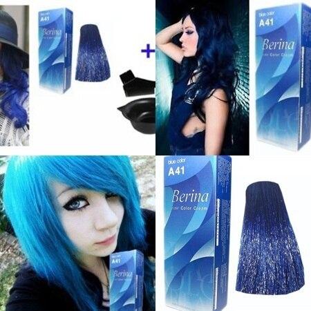 a41 bleu super teinture pour les cheveux couleur crme changeur permanent de mode - Coloration Permanente Bleu