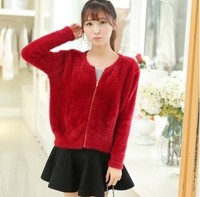 New Autumn Purple Mohair Cardigan Women Sweater Casual Crochet Poncho Women Short Sweaters Cardigans