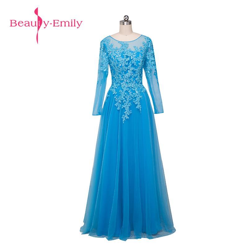 Beauty Emily Appliques Lace A line Full vestido de noche Mother of the Bride Dresses 2018