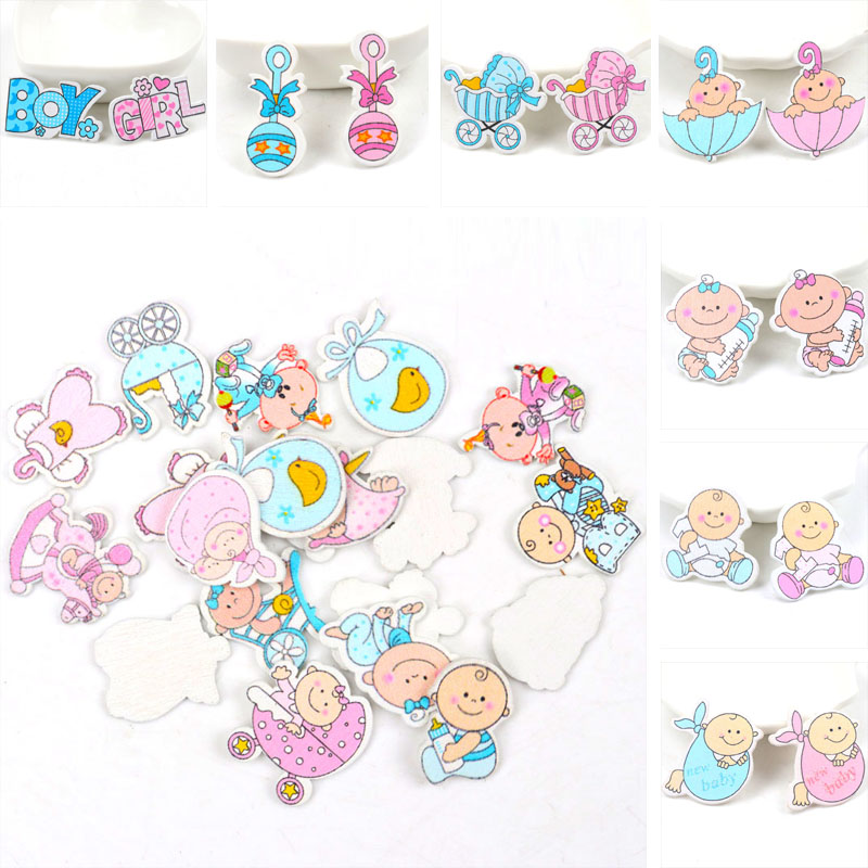 Blue/Pink Baby Series Pattern Scrapbooking Craft DIY Wood For Handmade Sewing Home Kids Birthdays Party Decorations  20pcs 35mm