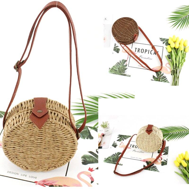 Fashion Women Handmade Round Shape Rattan Bag Straw Woven Ata Bag Beach Style Crossbody Style Bali Сумка