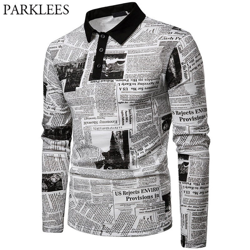 Vintage Poster Print   Polo   Shirt Men 2019 Spring Autumn New long Sleeve Mens   Polo   Shirts Business Casual Camisa   Polo   Masculina
