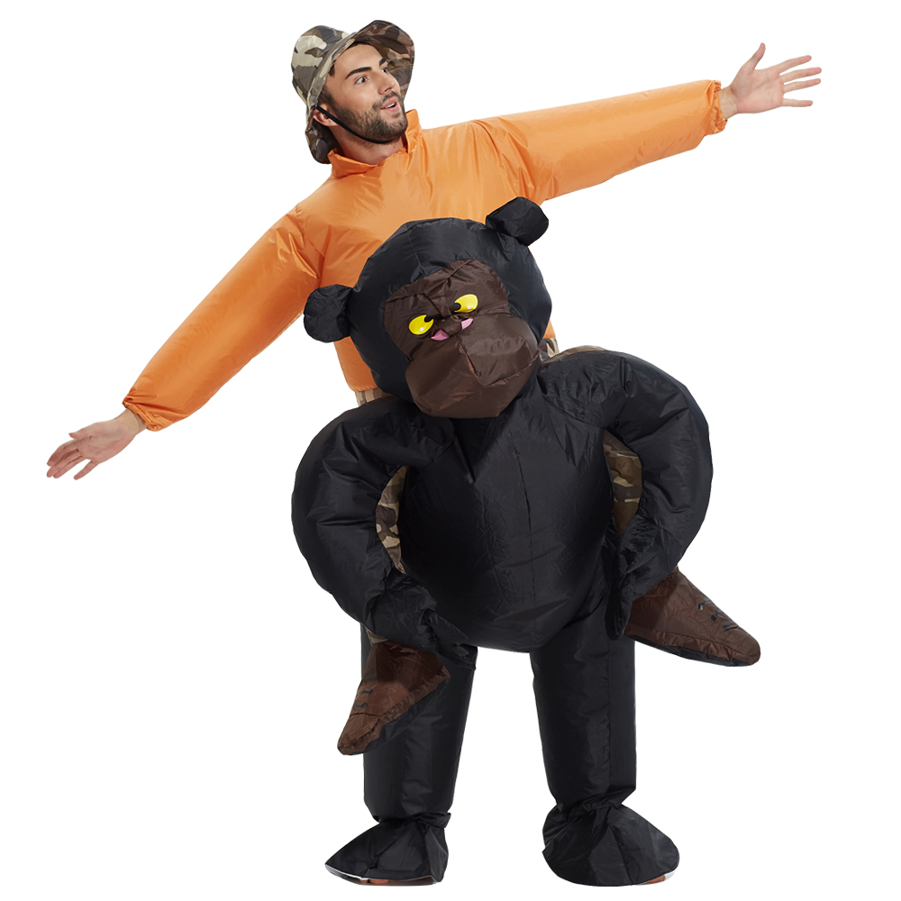 Hot Adult Club Suit INFLATABLE RIDING GORILLA COSTUME Animal Themed Halloween Cosplay Costumes in Anime Costumes from Novelty Special Use