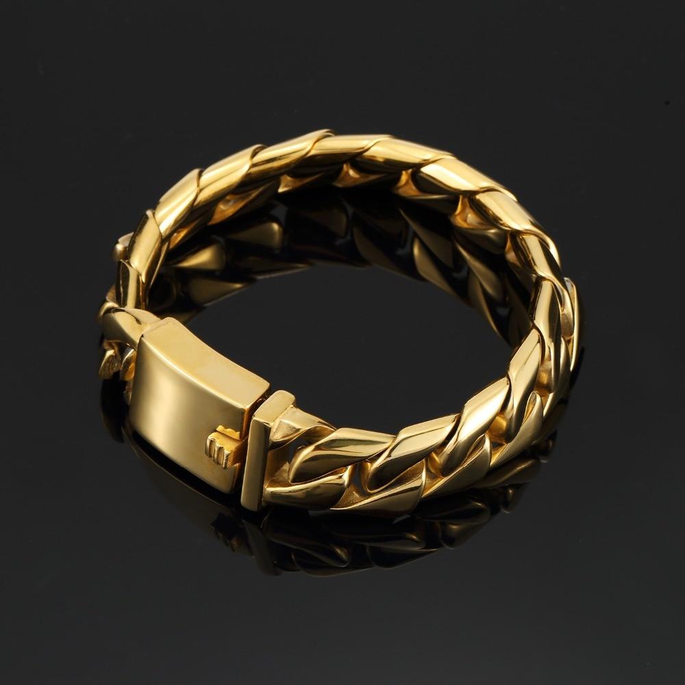 Bijoux de luxe cadeaux Bracelets en acier inoxydable classique gothique Hip Hop Bracelets fête Rock argent or lourd main chaînes bracelet