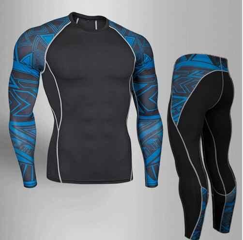 Pria Top Kemeja + Celana Ketat Celana Panjang Johns Gymming Musim Semi Olahraga Berjalan Latihan Kebugaran Musim Dingin Cepat Kering Pakaian Dalam Termal Set