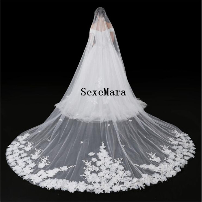 Real Photos Luxury Cathedral Long Lace Woodland Wedding Veil With Comb Voile De Mariee Bridal Veil Veu Custom Made