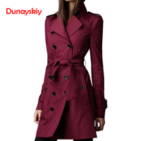 Dunayskiy Women Spring Autumn Trench Coat Fashion Casual Long Sleeve Slim Double Breasted Female Clothes Long Trench Windbreaker