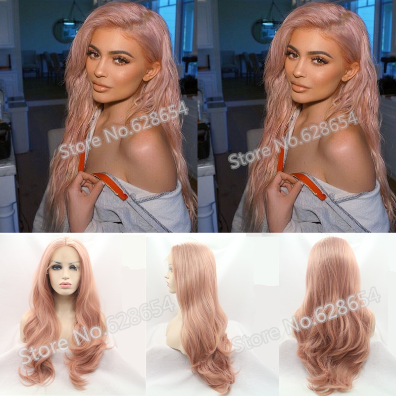 ФОТО Rose Gold Sexy Wave Long Soft Glueless Hair Smoke Pink Wig Synthetic Lace Front wig Light Pink Wig Heat Resistant Kylie Jenner