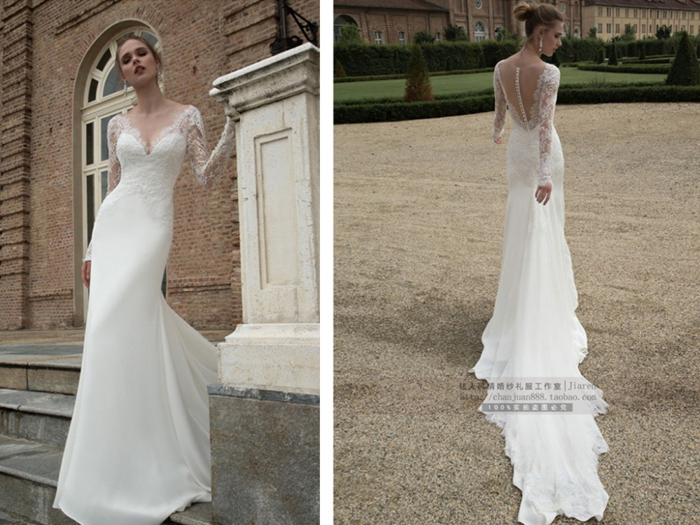 Lace Long Sleeve Mermaid Wedding Bridal Gown See Through Back Button 2018 Brides Vestido De Noiva Mother Of The Bride Dresses