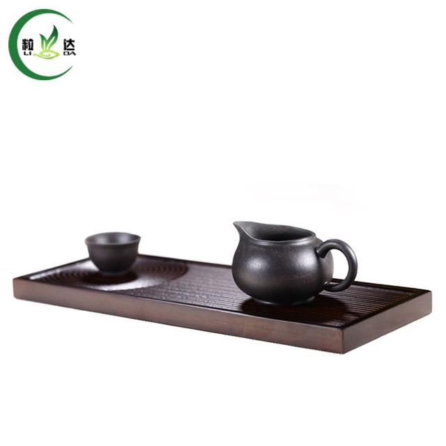 35x14cm Strand Woven Bamboo Tea Tray Black Color Tea Set With Non-slip Design
