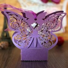 30pcs/pack  Butterfly Laser Cut Candy Gift Boxes Wedding Party Favor Box Favors