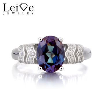 Leige Jewelry Alexandrite Ring Wedding Ring June Birthstone Oval Cut Color Changing Gemstone 925 Sterling Silver Ring Gifts