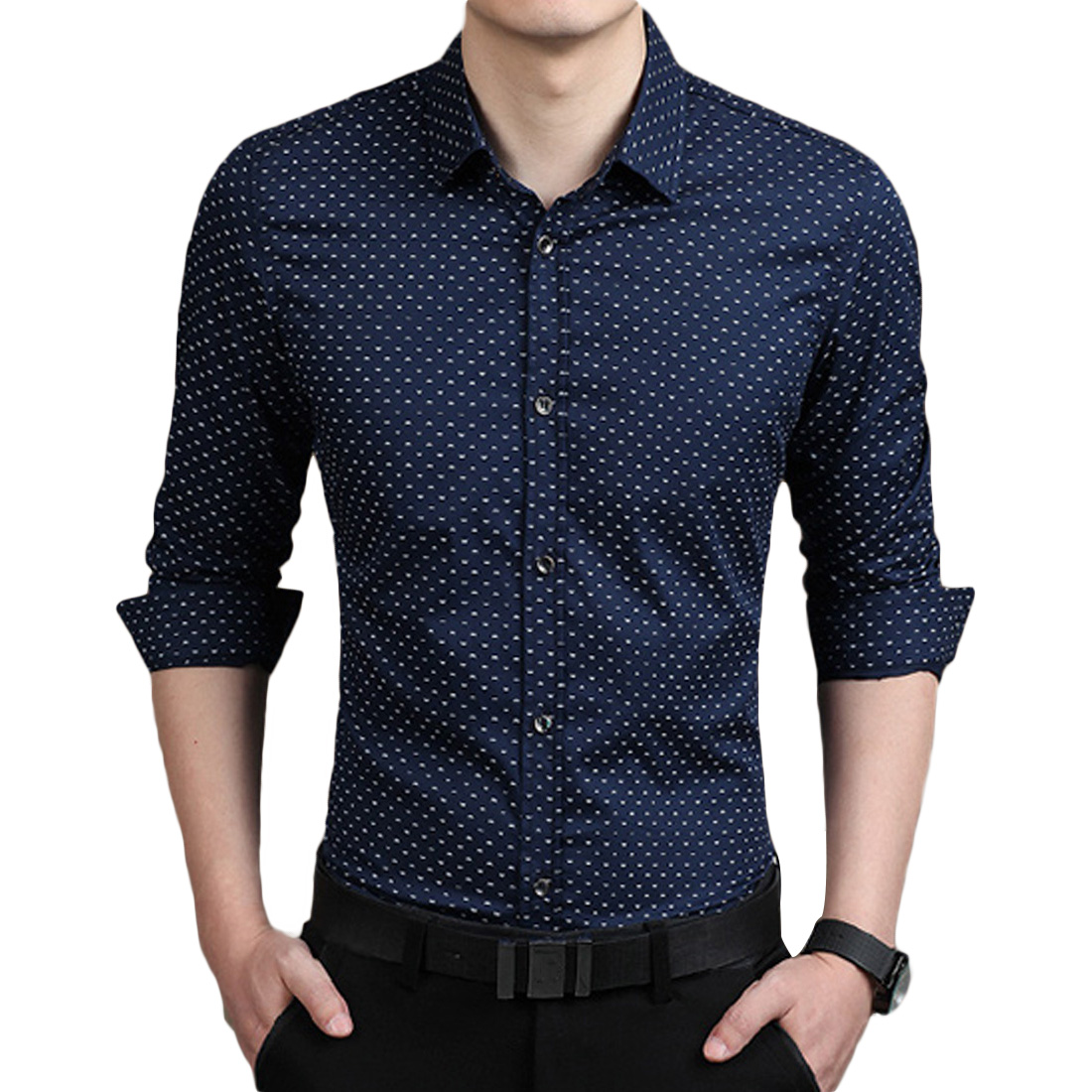Mens short sleeve dress shirt in mens t shirts compare for Mens polka dot shirt short sleeve