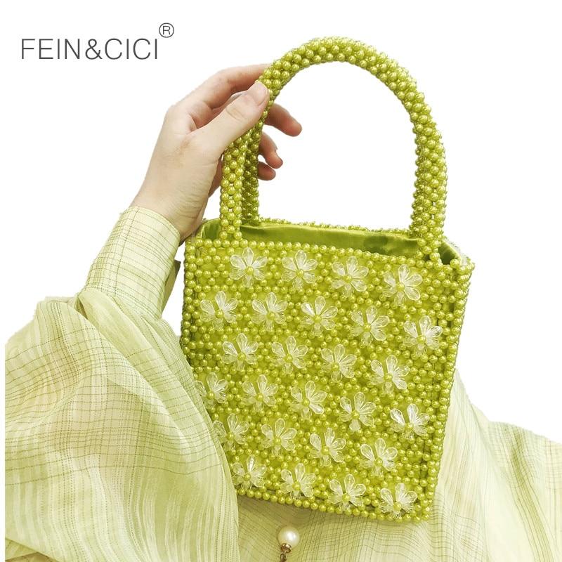 pearls bag beaded floral box totes bag vintage women party flower handbag 2018 uxury brand red