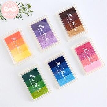 Mr Paper 6 видов цветов постепенное изменение красочные короткие Inkpad ручная работа, сделай сам, ремесло на масляной основе Inkpad Резиновые Марки Скрапбукинг Inkpad
