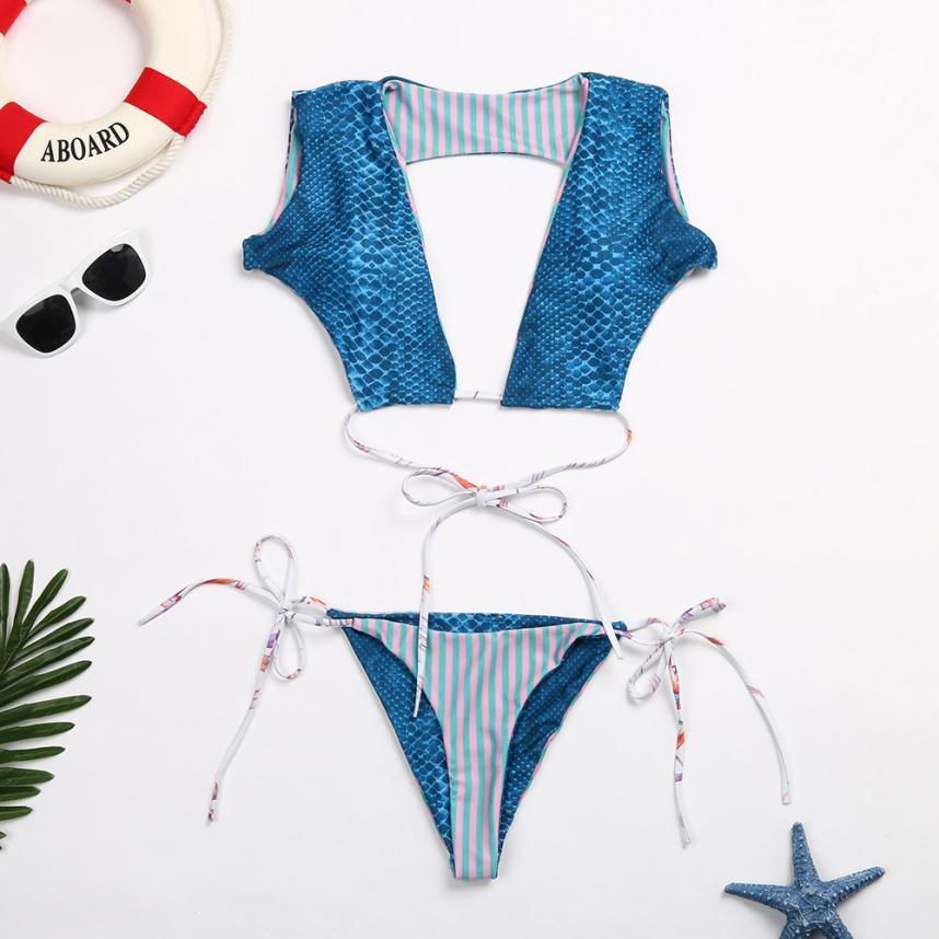 Womail 2018 Swimwear Women Sexy Print Bandage Bikini Set Blue Swimsuit Push Up Bra Swiming Suit May Beach Bathing Suit