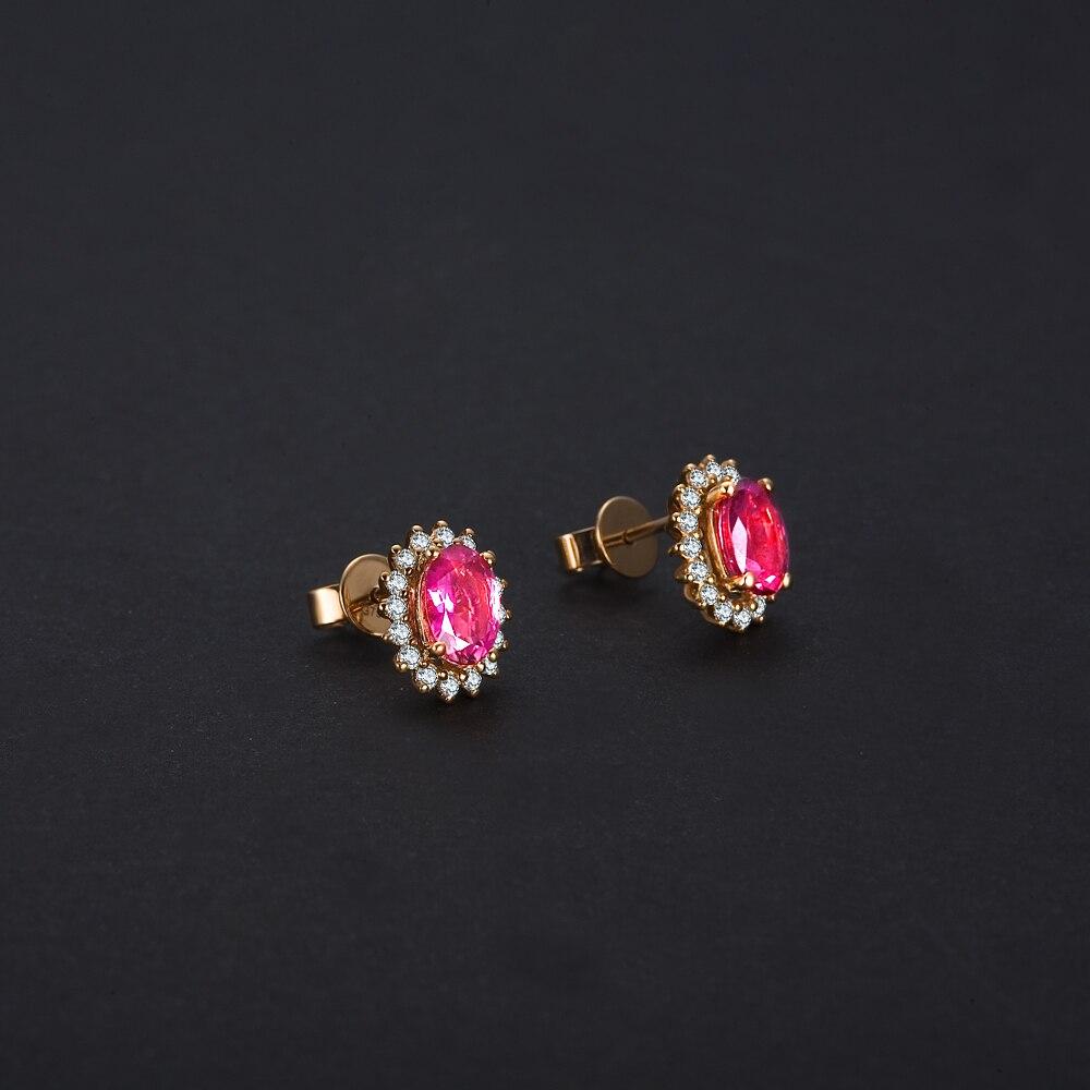 GVBORI 1.5ct турмалин 18 K золотые серьги с бриллиантом для женщин драгоценный камень ювелирные украшения Прекрасные ювелирные украшения Валентина