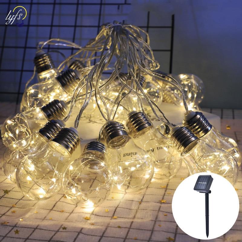 Luz de corda solar ao ar livre edison do vintage plástico 10 lâmpadas pendurado luzes da corda à prova dwaterproof água para deck quintal tendas festa decoração