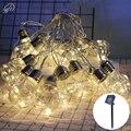 Винтажная пластиковая гирсветильник Эдисона на солнечной батарее, подвесной водонепроницаемый шнусветильник с 10 лампочками для деки, двор...