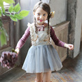 2017 Spring Baby Girls Evening Dress Clothing Sets Kids Princess Dresses Children Girl Lace Lapel T-Shirts + Winter Skirts Suit