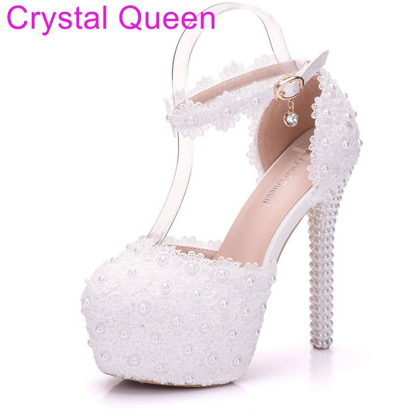 d6f45ce5e097 Crystal Queen Fashion Wedding Pumps Sexy High Heel Shoes High Plateform  Lace Flower Sandals Women Party