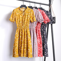 Beautiful 2018 Fashion Summer Women Chiffon Floral Dress Short Sleeve Casual Slim Print V Neck