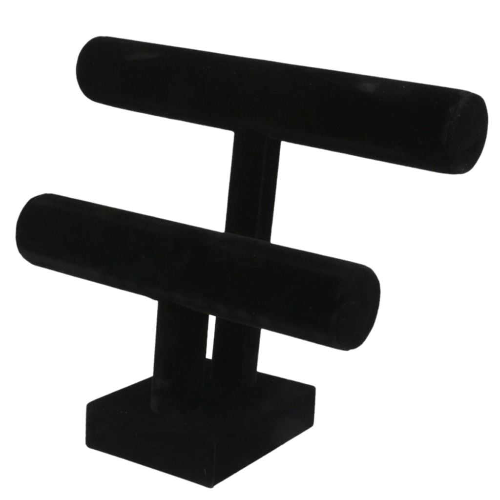 Black Color Velvet 2-Tiers T-Bar Display Stand Jewelry Holder Accessories Rack For Bangle Bracelet Watch Jewelry Holder Display
