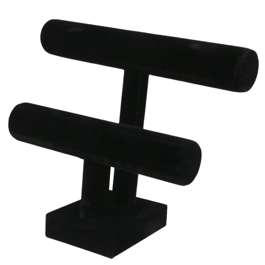 Schwarz Farbe Samt 2-Tiers T-Bar Ständer Schmuck Halter Zubehör Rack Für Armreif Armband Uhr Schmuck halter Display