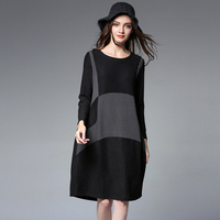 4xl Autumn Winter Knitting Dress Women2017woman Loose Casual Knit Patchwork Vintage High Quality Warm Winter Dresses